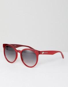Красные круглые солнцезащитные очки LOVE Moschino - Красный
