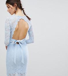 Платье-футляр с длинными рукавами, V-образным вырезом и бантом сзади City Goddess Tall - Синий