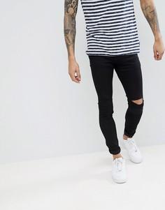 Черные супероблегающие джинсы с рваными коленями Pull&Bear - Черный Pull&Bear