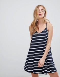 Свободное трикотажное платье в полоску Jack Wills - Темно-синий