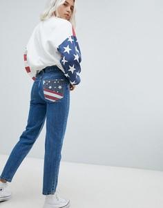 Джинсы в винтажном стиле с принтом флага Pull&Bear - Темно-синий Pull&Bear
