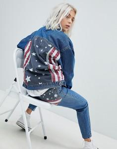 Джинсовая oversize-куртка с американским флагом Pull&Bear - Синий Pull&Bear