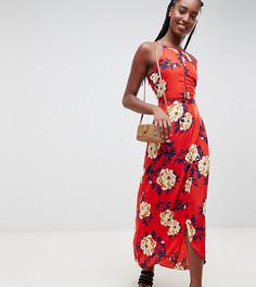 Платье макси с цветочным принтом Influence Tall - Красный