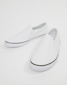Белые парусиновые кеды-слипоны ASOS DESIGN - Белый