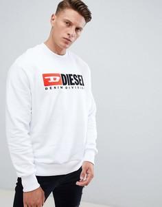 Белый свитшот с логотипом Diesel S-Crew-Division Industry - Белый