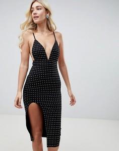 Платье миди с глубоким V-образным вырезом и отделкой стразами Club L - Черный