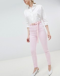 Выбеленные розовые джинсы в винтажном стиле с завышенной талией и ремнем ASOS DESIGN Farleigh - Розовый