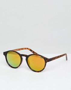 Круглые черепаховые солнцезащитные очки с зеркальными стеклами Pull&Bear - Коричневый Pull&Bear