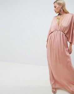 Атласное длинное платье-кимоно ASOS DESIGN - Розовый