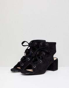 Черные туфли на каблуке со шнуровкой Pull&Bear - Черный Pull&Bear