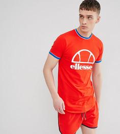 Красная удлиненная обтягивающая футболка с логотипом ellesse - Красный