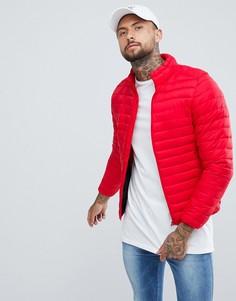 Черная дутая куртка Pull&Bear - Красный Pull&Bear
