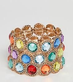 Набор из 3 золотистых браслетов с разноцветными камнями эксклюзивно для ASOS DESIGN Curve - Золотой