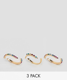 3 золотистых кольца с камнями эксклюзивно для ASOS DESIGN Curve - Золотой