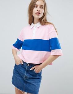 Розовая футболка-поло в стиле колор блок Pull&Bear - Розовый Pull&Bear