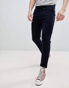 Темно-синие брюки в клетку Pull&Bear Tailored - Темно-синий Pull&Bear