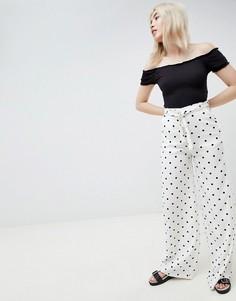 Белые брюки в горошек с поясом Pull&Bear - Белый Pull&Bear
