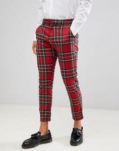 Красные брюки в клетку Pull&Bear Tailored - Красный Pull&Bear