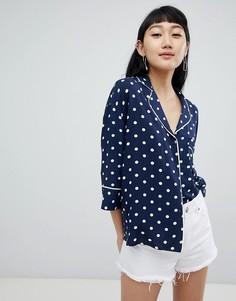 Темно-синяя блузка в горошек Pull&Bear - Темно-синий Pull&Bear