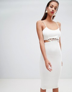 Платье миди с вырезами на талии ASOS DESIGN - Белый