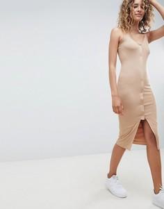 Платье миди с овальным вырезом ASOS DESIGN - Бежевый