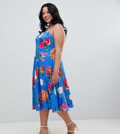 Платье миди для выпускного на бретельках с плиссировкой и цветочным принтом ASOS DESIGN Curve - Мульти