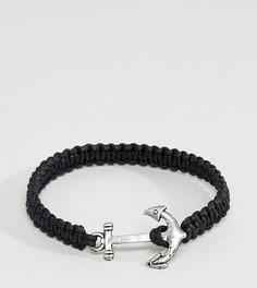 Черный браслет с якорем ASOS DESIGN Plus - Черный