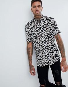 Серая узкая рубашка с леопардовым принтом River Island - Серый