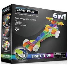 """Светящийся конструктор 6 в 1 Laser Pegs """"Гонка"""", 18 деталей"""