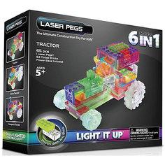 """Светящийся конструктор 6 в 1 Laser Pegs """"Трактор"""", 65 деталей"""