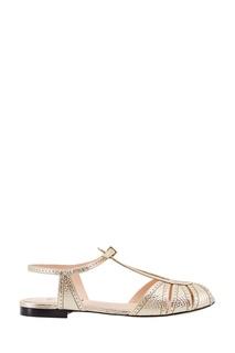 Кожаные серебристые босоножки Fendi