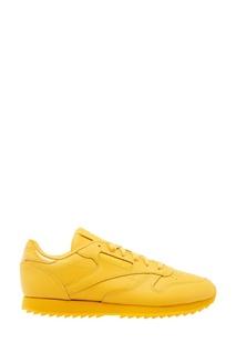 Желтые кожаные кроссовки Reebok
