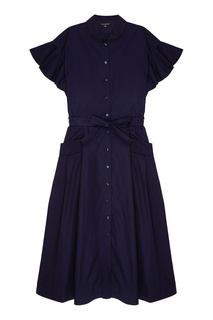 Синее хлопковое платье-рубашка Tara Jarmon