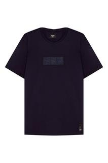 Синяя футболка с аппликацией Fendi