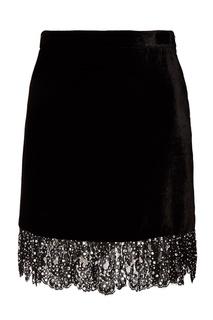Черная юбка с отделкой кристаллами Miu Miu