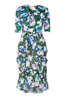 Платье-миди с цветочным принтом Balenciaga
