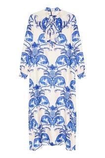 Шелковое платье с принтом Gucci