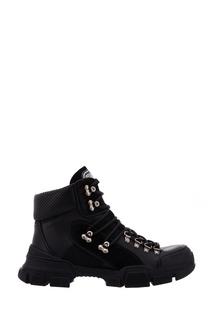 Черные кожаные ботинки Flashtrek high-top Gucci
