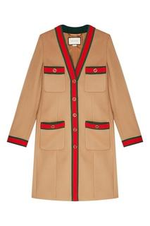 Шерстяное пальто с цветной отделкой Gucci