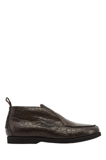 Кожаные ботинки с мехом Kiton
