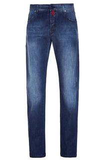 Синие джинсы с цветными пуговицами Kiton