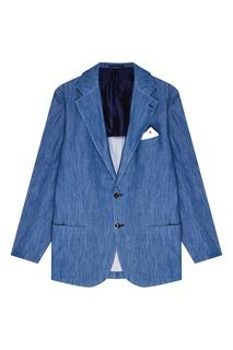 Однобортный голубой пиджак Kiton