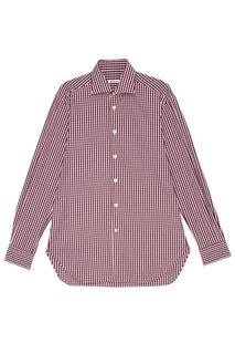 Бордовая рубашка в клетку Kiton