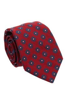 Красный галстук с цветочным узором Kiton