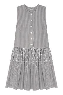 Платье в полоску с кристаллами Miu Miu