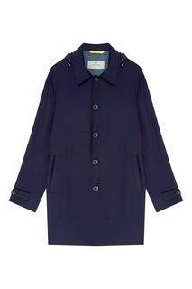 Синее однобортное пальто с капюшоном Canali