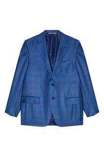 Голубой пиджак в клетку Canali