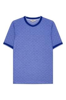 Голубая футболка с принтом Canali