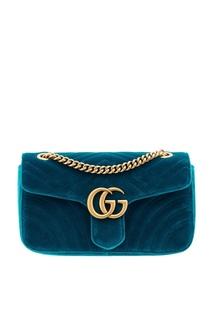 Бирюзовая сумка из бархата GG Marmont velvet Gucci