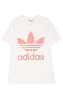 Хлопковая футболка с розовым логотипом Adidas